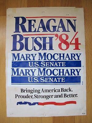 """Vintage 1984 Ronald Reagan """"Reagan Bush '84"""" Presidential Campaign Sign"""