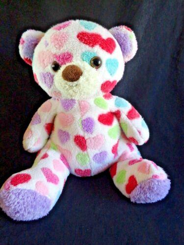 "PLUSH TEDDY BEAR 12"" Pastel Polka Dot Hearts Animal Adventure 2014 Valentine"