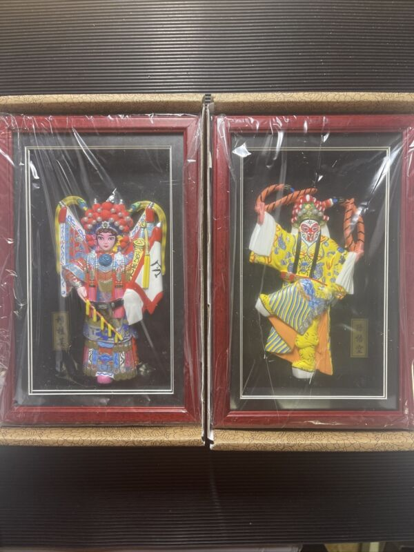 HandCrafted HERITAGE CULTURE Chinese Opera Mask Figure Shadow Box Lot Of 2 NEW