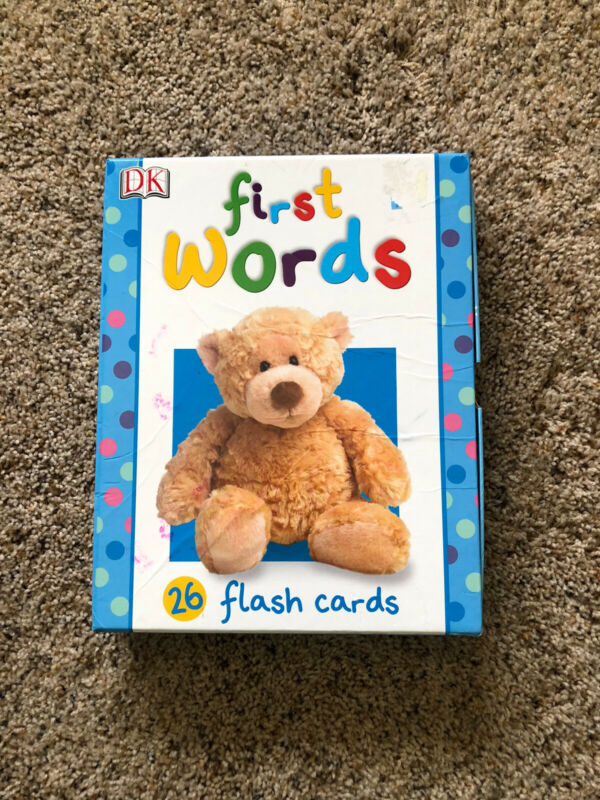 """FIRST WORDS 26 LARGE FLASH CARDS 10 """" x 7.75 """" BY DK"""