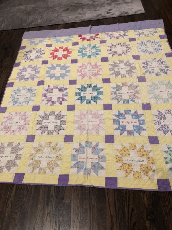 """Amazing Vintage """"Friendship"""" Quilt With Embroidered Signatures"""