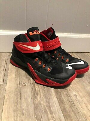 Nike Zoom LeBron Soldier 8 Mens Size 9.5 Basketball Shoes Black Red 653641-016