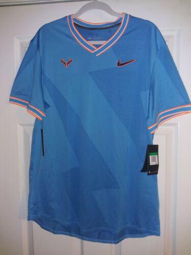 NikeCourt AeroReact Rafa Mens Tennis Top Sz XL Blue AQ7660-433 NWT - $54.99