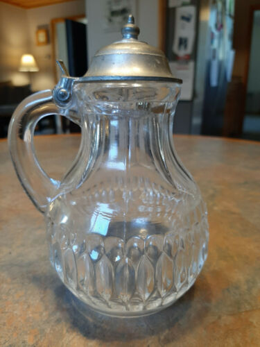 Old Glass SYRUP PITCHER with PEWTER CAP; unmarked