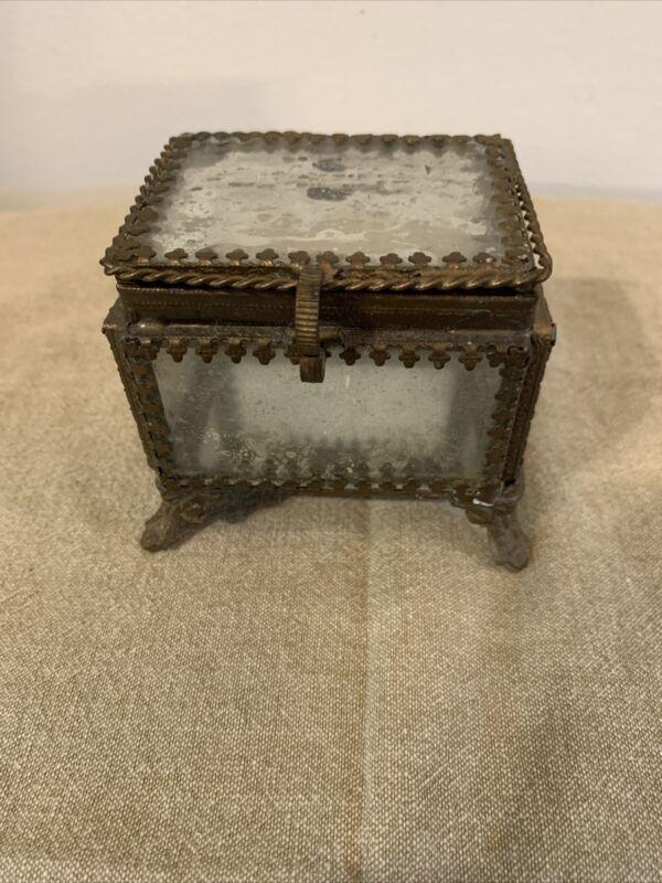 antique brass and mercury glass ornate jewelry box ormolu style Mirror Inside