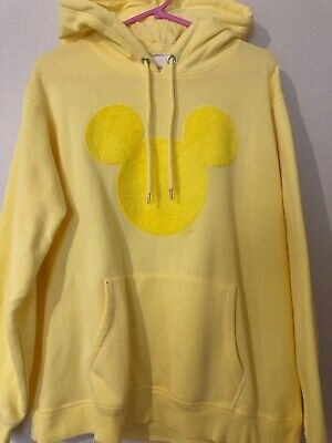 H&M Disney Yellow Lemon Towelling Mickey Mouse Hoodie Top Jacket Uk L 14 16