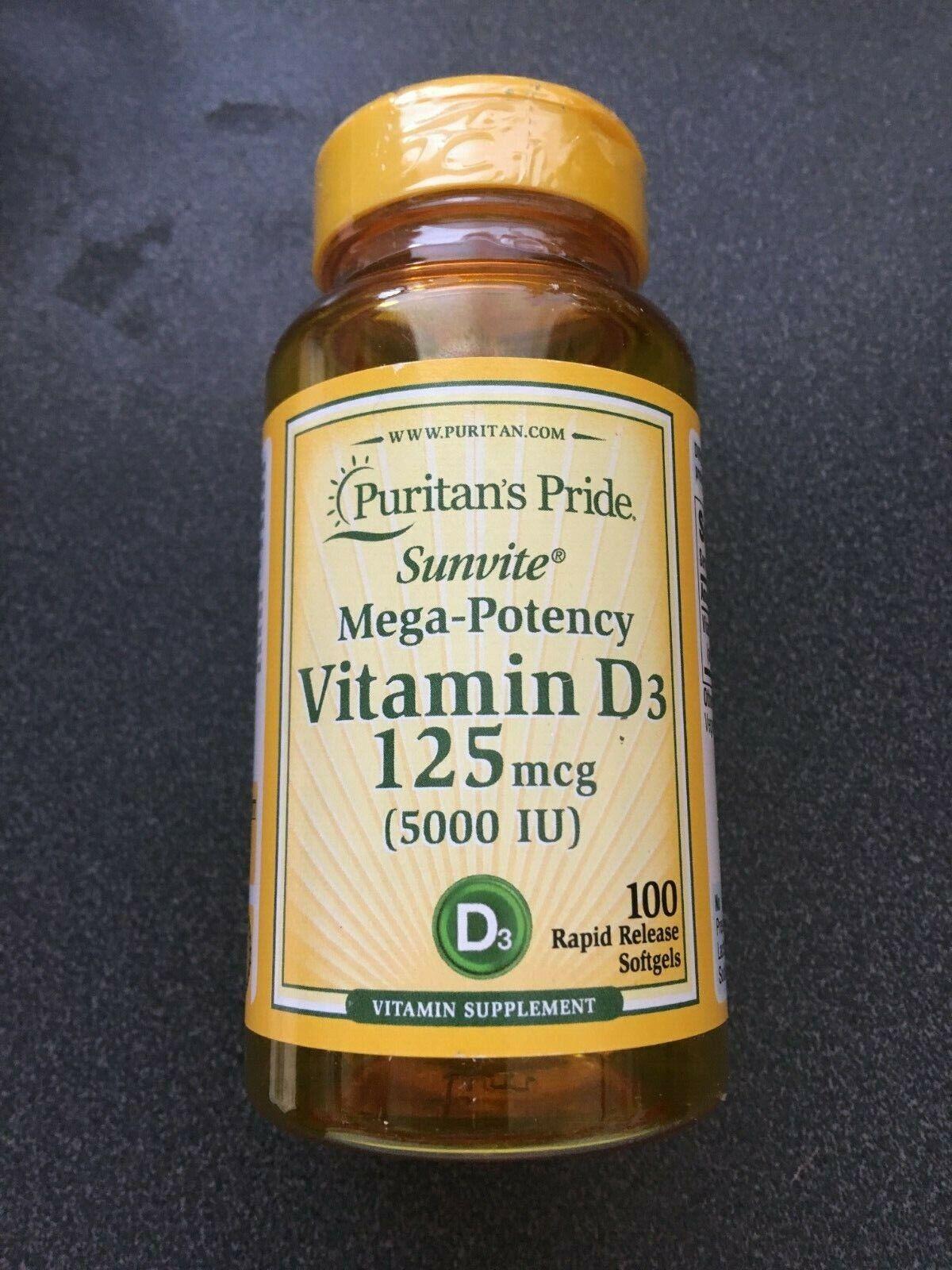 New Puritans Pride Vitamin D 3 SuperPotency 5,000 iu 125mcg 100 Softgel Sunvite