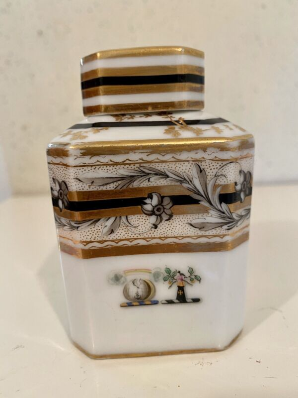 Chinese Export Porcelain Tea Caddy Famille Rose Square Vase Amorial 3 1/2 Inch