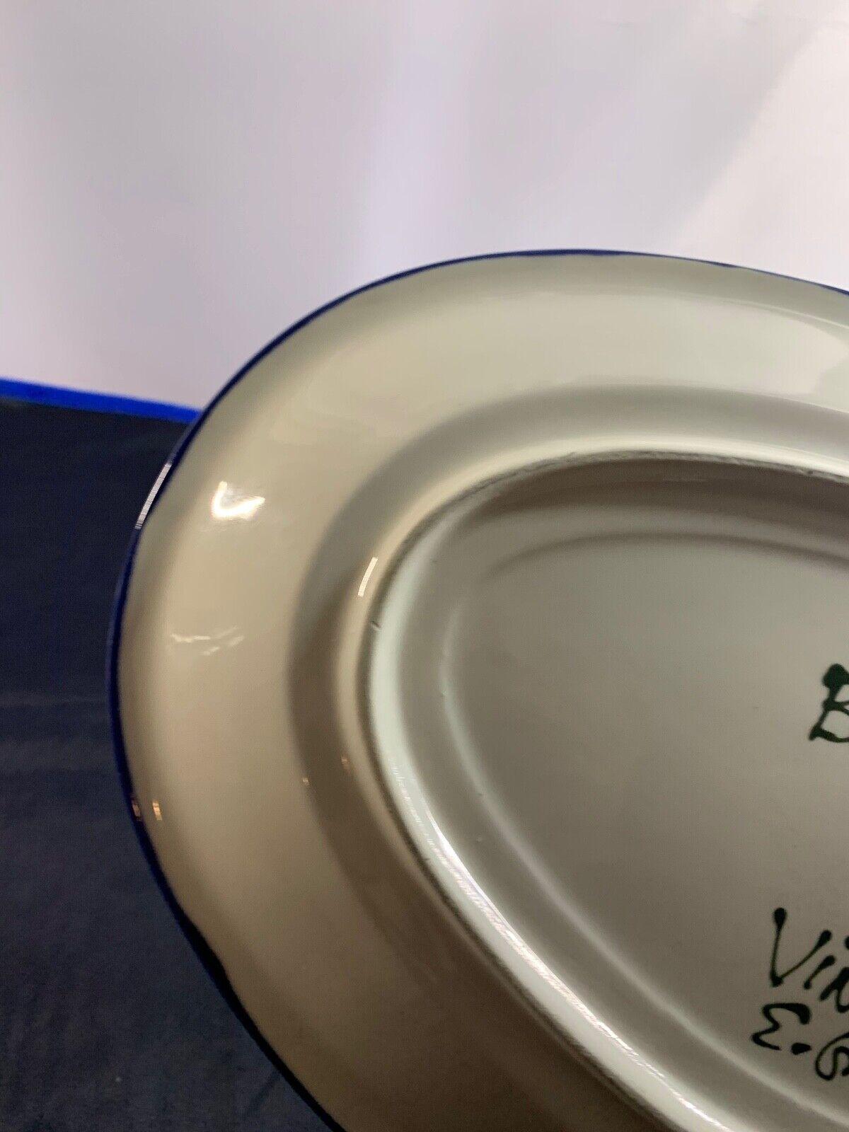 BENZIGER VINEYARD GRAPE VINE PRINT PLATTER DISH 12 X 9 BY E. GREENE - $39.99