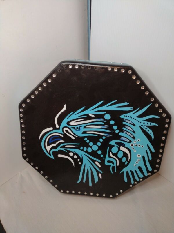 """Hand Painted 15"""" Rawhide Native American  Octagon Hand Drum."""