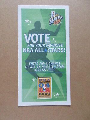 2004 OFFICIAL SPRITE NBA ALL STAR BALLOT