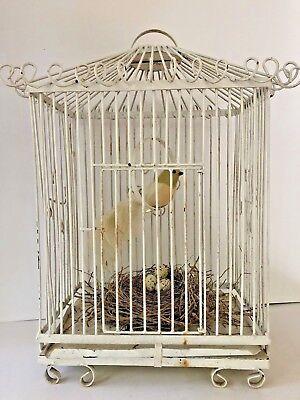 Antique White Wrought Iron Bird Cage Birdcage Vintage Metal Wedding Decor