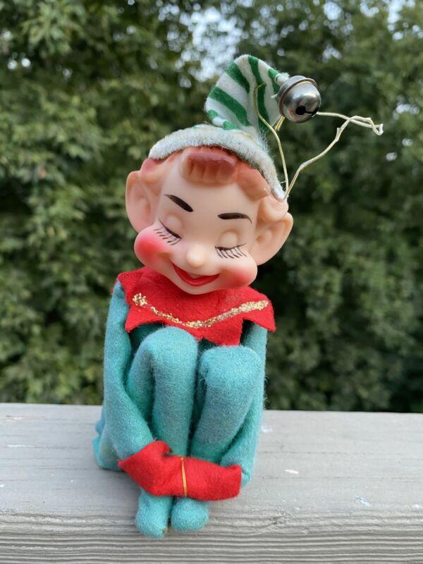 Vintage Japan Christmas Felt Ornament ELF PIXIE KNEE HUGGER Smiling/eyes Closed