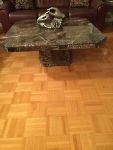 Marble coffee table and two end tables