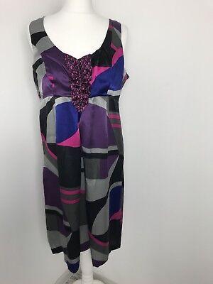 Kensie 100% Silk Purple Grey Pink Geometric Polka Tunic Dress Size M Arty