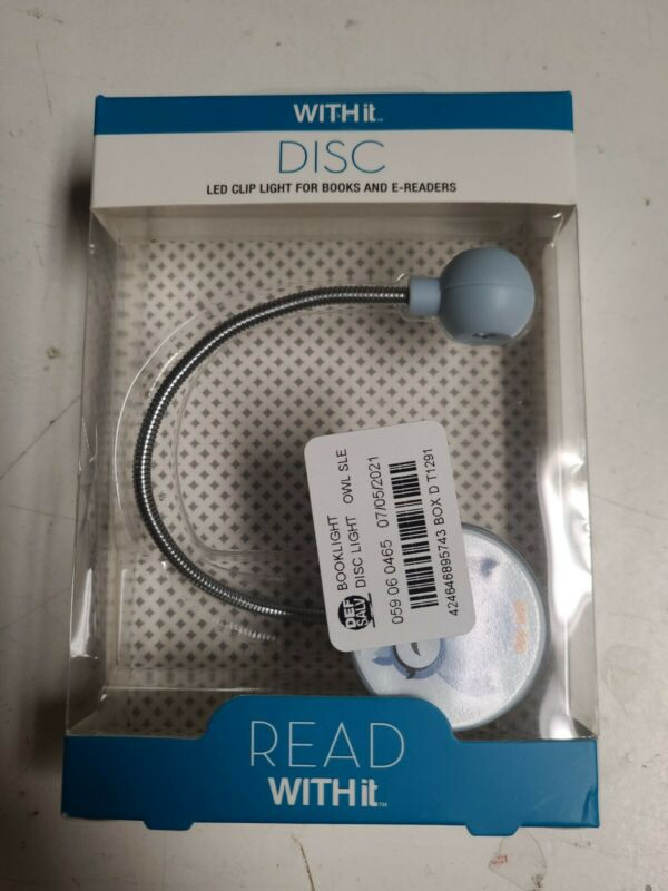 WITHit French Bull Owl Print Disc LED Booklight - Blue/White