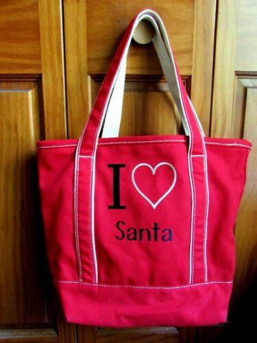 "Lands End Canvas Tote Bag ""I Love Santa"" Red EUC"