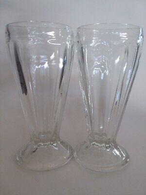 Milkshake Glass (MILKSHAKE Glass Ice Cream Sundae Soda Root beer Float Ribbed Vintage 7