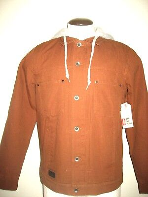 Vans Shoes Mens Calpine Cotton Twill Hooded Button Jacket Brown Size Small Nwt