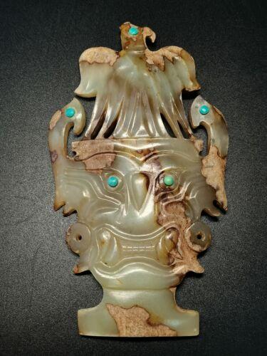 Chinese Jade mask God face white Jade Amulet Shijiahe Culture eagle&beast mask
