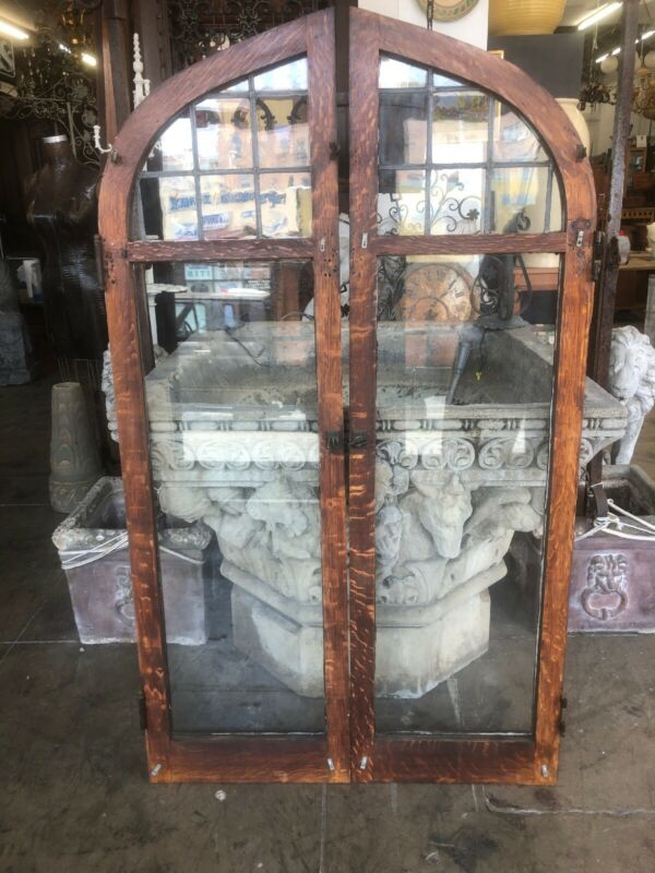 Arched Leaded Glass Casement Windows Arts & Crafts 62x36