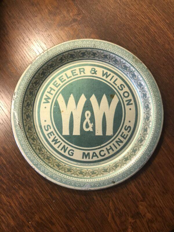 Antique  Wheeler Wilson Sewing Machine Tin Lithograph Advertising Tip Tray Rare!