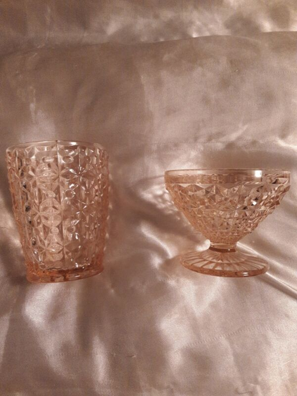 Jeanette Pink Depression Glass Holiday Buttons And Bows tumbler and sherbert