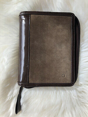 Vintage Franklin Covey Suede Compact Planner Taupe Leather Binder Personal Zip
