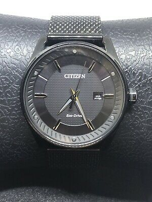 Citizen Mens Bm6988-57e Black Silver Accent Eco Drive Mesh Band Watch #C58