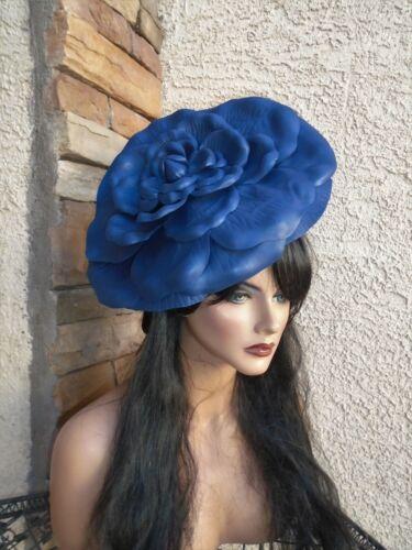 Navy blue fascinator dress formal feather hair accessory church wedding
