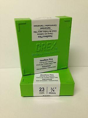 "Grex 23 Gauge Headless Micro Pins P6/20L 3/4"" Inch 10,000 Per Box 660292330201"