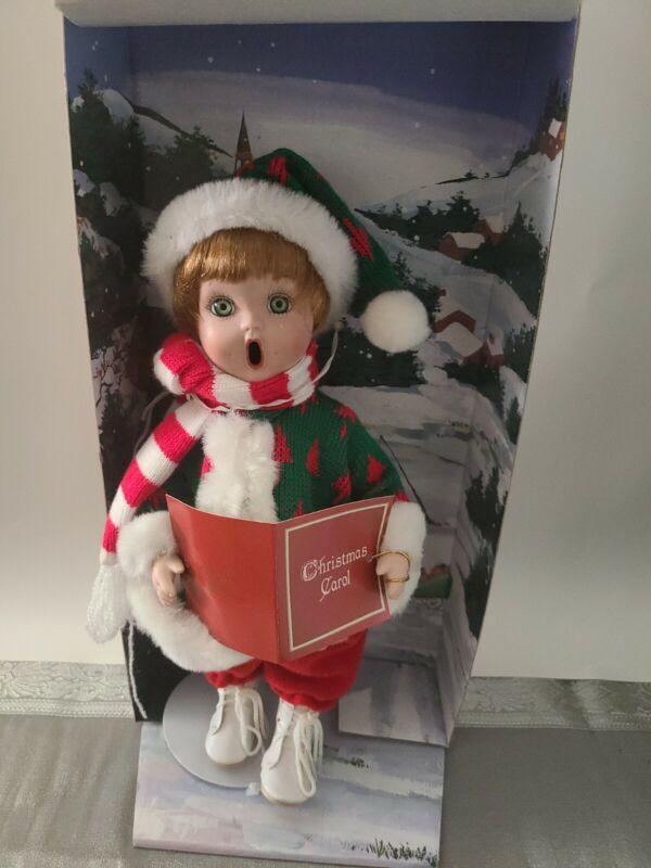 Vintage Beautiful Genuine Porcelain Doll Christmas Caroler Girl
