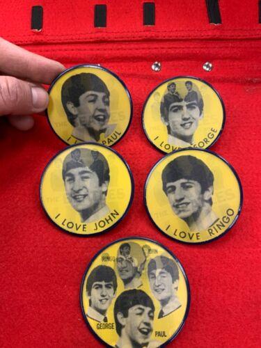 Original vintage 1964 Beatles Vari-Vue pin-back flicker  FLASHER button set