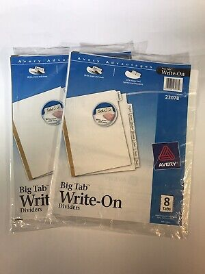 Avery 23078 8-pack Big Tab Write-on Dividers With Erasable Tabs Lot Of 2
