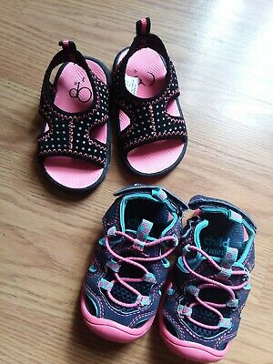 Lot Of 2 Baby Girl Size 3 Shoes Sandals Carters Child of Mine & Op