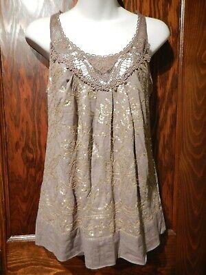 C KEER Anthropologie Bordurette Gold Taupe Sequined Embellished Crochet Lace 1B