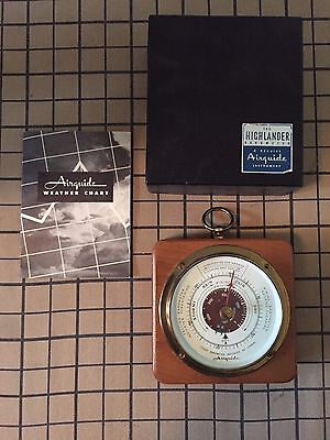 Vintage Airguide Instrument Barometer Wood Brass w/ Box Weather Chart