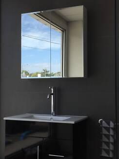 Bevelled edge mirror shaving cabinet 600/750/900/1200mm