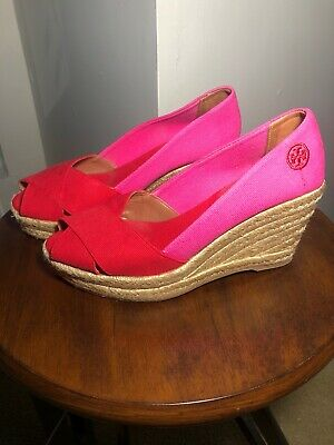 Tory Burch Filipa Wedge Espadrille Open Toe Red Pink Size 7B