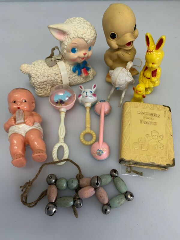 Vintage Baby Toy Lot Rattles Squeaky Chick Easter Bunny Rabbit Zell Savings Bank