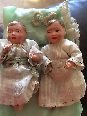 Lot of 2 Small Vintage Celluloid Baby Dolls Twins 3 Inches, Movable Arms Legs
