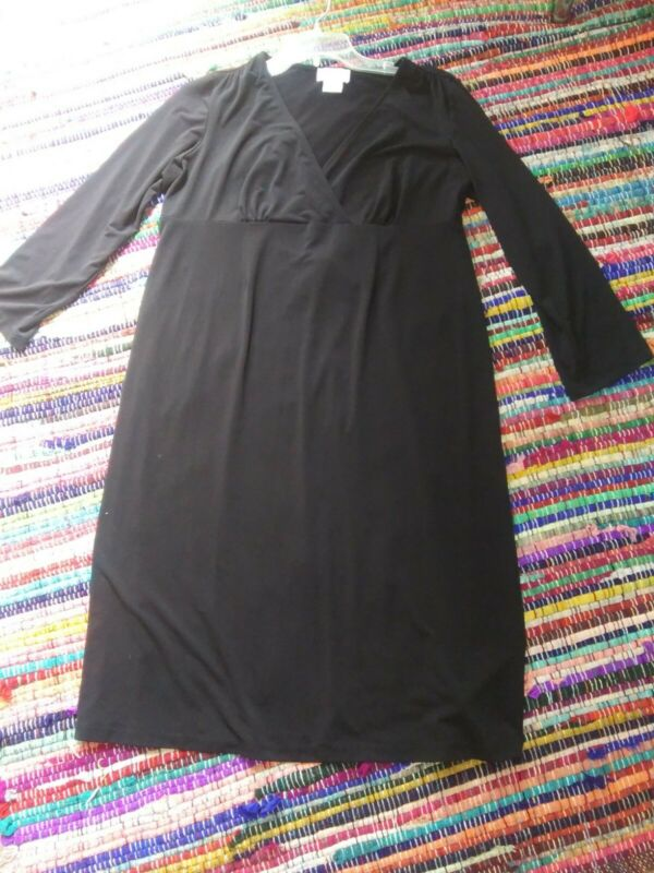 OH BABY BY MOTHERHOOD Size Medium Dress Black 3/4 Sleeves Empire Waist