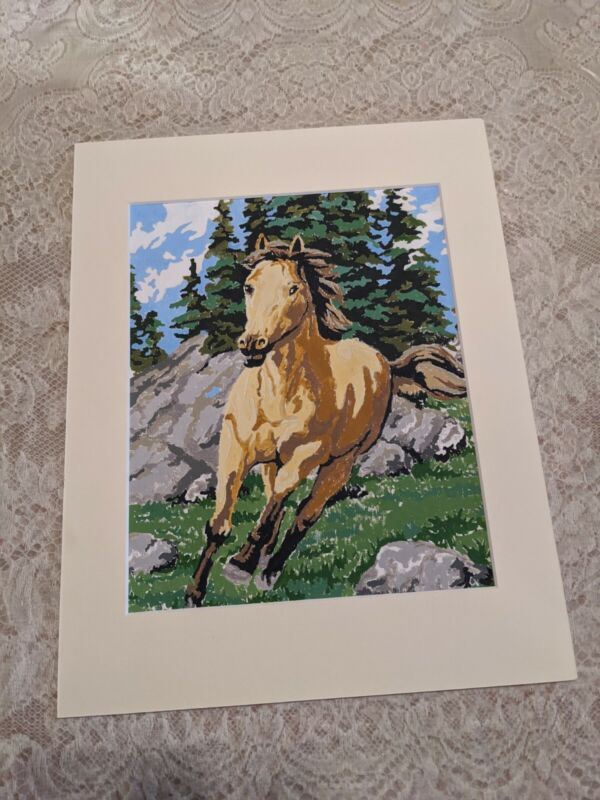Vintage Paint-by-number Finished Running Horse Painting And Matt