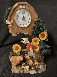 Rooster Chick Chicken Farm Decor Table Clock Collectible Figure