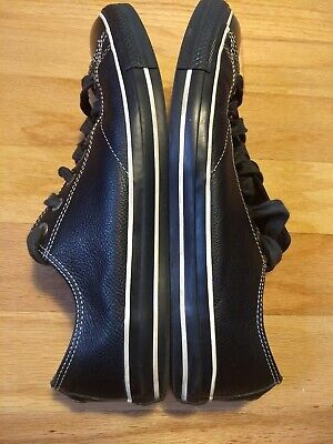 Mens 12 Converse All Star Black On Black Leather Low Top Shoes EUC women's 14