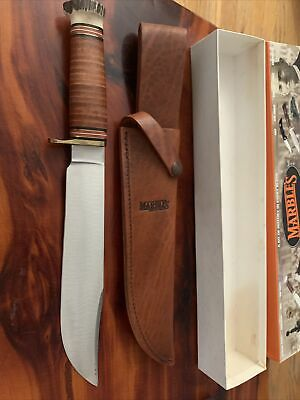 "Marbles Benchmade Trailmaker Knife STAG 10"" MSA + Sheath & Box"
