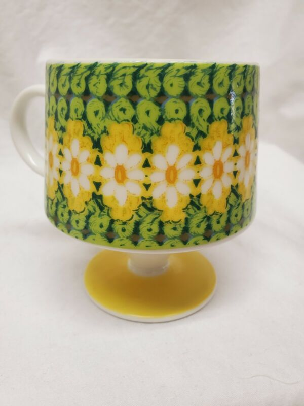MID CENTURY Modern 3 PC Set Footed Coffee Cups Retro Atomic Mugs MORIBANA Daisy