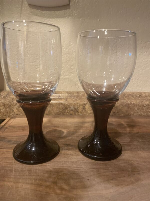 Fire And Light Wine Glasses Goblets Plum Color 1 Signed
