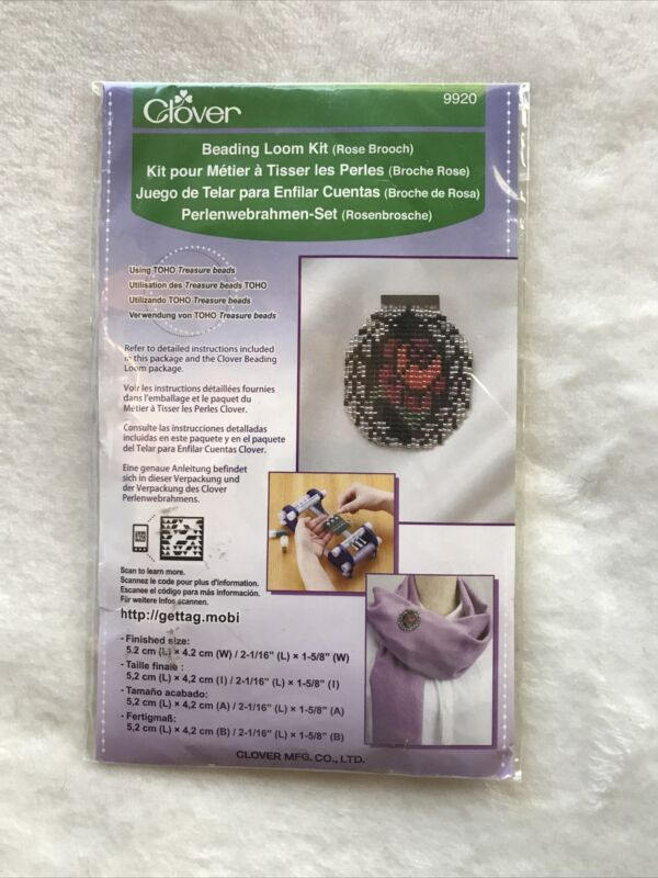 CLOVER BRAND NEW IN PACKAGE ROSE BROOCH BEADING LOOM KIT #9920 PIN BACK DIY GIFT