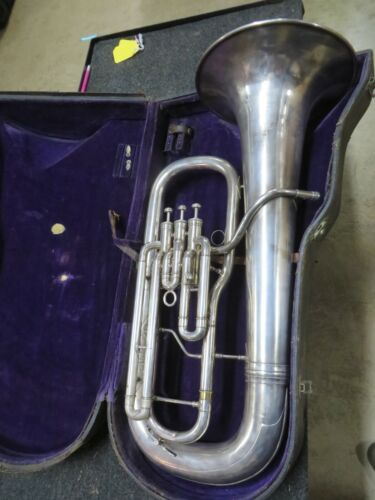 Martin Handcraft Euphonium Baritone Horn in Satin Silver Plate, Serviced #VLB06